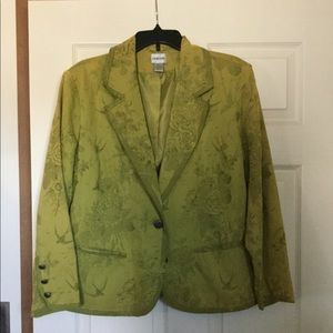 Chico Lime Olive Green Jacket Blazer Size 2